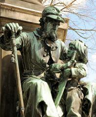 Detail Lornsen Denkmal in Rendsburg; errichtet 1878 am Stadtsee.