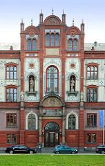 Fassade Universitätshauptgebäude Hansestadt Rostock / Universitätsplatz.