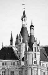 Türme Schweriner Schloss - Baustil Romantischer Historismus / Architekten  Georg Adolf Demmler, Gottfried Semper, Friedrich August Stüler und Ernst Friedrich Zwirner - Bauzeit 1845 - 1875.