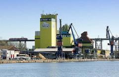Silogebäude und Hafenkräne am Ufer des Nord-Ostsee-Kanals in Rendsburg - im Hintergrund die  Rendsburger Hochbrücke mit  einem Regionalzug.
