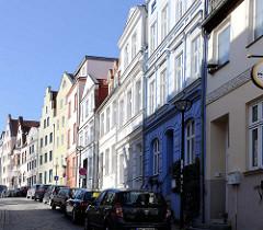 Historische Strasse Beginenberg in Rostock, Rostocker Mittelstadt; historische Architektur der Hansestadt.