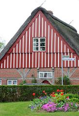 Historische Kate - Bauernhaus mit Reet gedeckt; Holzfassade rot weiss gestrichen; Bilder aus Seester, Kreis Pinneberg - Vorgarten mit blühenden roten Tulpen.