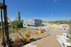 Baustelle des ehem. Güterbahnhofs beim Harburger Hafen.