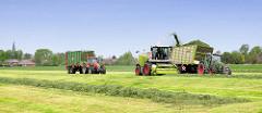 Grasernte in Kollmar - das gemähte Gras wird von einem Häcksler aufgenommen und in einem parallel fahrenden Anhänger / Häckselwagen gefüllt.