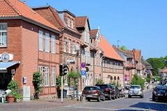 Historische Hausfassaden - Fachwerkhäuser in Eutin an der Lübecker Strasse.
