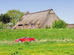 Rotes Sportauto / Cabriolet am Elbdeich in Haseldorf - Reetdachhaus hinter dem Deich / Deichkrone.