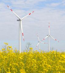 Windkraftanlagen - blühendes Rapsfeld im Frühling; Bilder aus Neuenfelde b. Elmshorn.