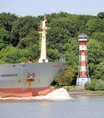 Das Tankschiff HEINRICH auf der Elbe vor Hamburg - am Elbufer der Leuchtturm von Wittenbergen.