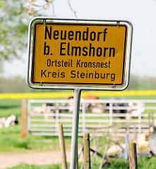 Ortsschild Neuendorf b. Elmshorn, Ortsteil Kronsnest - Kreis Steinburg.