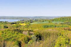 Luftaufnahme - Felder zwischen Bäumen, im Hintergrund Seen bei Plön.