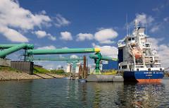 Der Mehrzweckfrachter Ulricke G. wird am Reiherstieg in Hamburg Wilhelmsburg entladen - blauer Himmel / weisse Wolken.