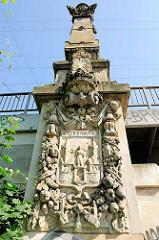 Stuckdekor an der Eisenbahnbrücke Lübecker Strasse in Magdeburg - Wappen der Stadt, Schriftzug.