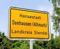 Stadtschild Hansestadt Seehausen ( Altmark ); Landkreis Stendal.