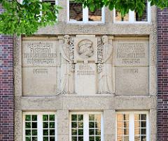 Detail Fassade Kunstgewerbe und Handwerkerschule Magdeburg. Fassadenschmuck, Portrait Albrecht Dürer.