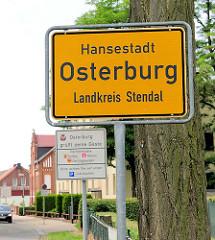 Ortsschild Hansestadt Osterburg, Landkreis Stendal.