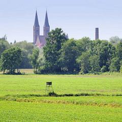 Wiesen und Hochstand - Türme des St. Nikolaus-Doms in Stendal.