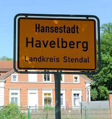 Ortsschild Hansestadt Havelberg, Landkreis Stendal.