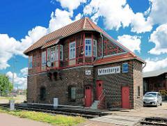Historisches Stellwerk Wm am Bahnübergang Bahnhof Wittenberge.