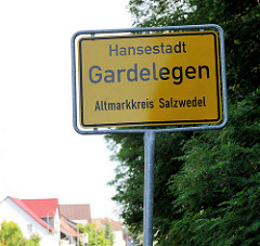 Ortsschild Hansestadt Gardelegen, Altmarkkreis Salzwedel.