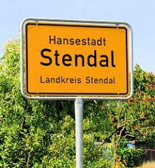 Ortsschild Hansestadt Stendal, Landkreis Stendal.