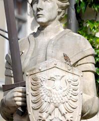 Rolandfigur vor dem Rathaus der Hansestadt Gardelegen.
