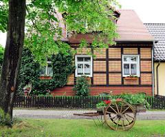 Holzkarre mit Bepflanzung, Wohnhaus - Fotos aus der Hansestadt Werben.