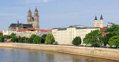 """Blick über die Elbe in Magdeburg - Magdeburger Dom und Klosterkirche """"Unserer lieben Frau"""""""