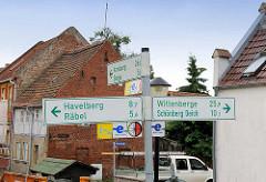Kreuzung Fahrradwege / Fahrradwanderweg - Südroute Elbradweg; Havelberg / Wittenberge / Arneburg.