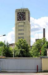 Industriearchitketur - Turmuhr vom ehem. Nähmaschinenwerk Wittenberge Singer Nähmaschinenfabrik AG - Veritas, Baustil Expressionismus, Neue Sachlichkeit / grösste freistehende Turmuhr Deutschlands / Europas.