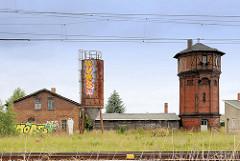 Bahngelände mit historischem Wasserturm / Hansestadt Salzwedel.