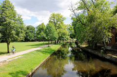 Fluss Stepenitz, Grünanlagen in Perleberg - Hagenpromenade.
