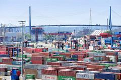 Containerlager auf dem Terminal Tollerort - im Hintergrund die Köhlbrandbrücke.