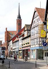 Fachwerkhäuser in der Altstadt / Burgstrasse von Salzwedel.