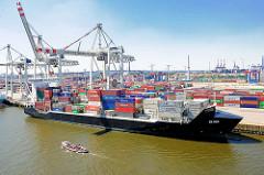 Der Containerfeeder EILBECK liegt am HHLA Containerterminal Tollerort - das Frachtschiff kann 1600 TEU Container transportieren.
