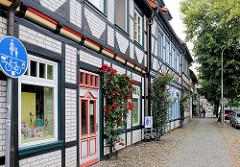 Historische Gebäude in der Hansestadt Salzwedel in der Wollweberstrasse.