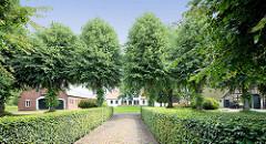 Gebäude und Lindenbäume vom Gutshof von Kielmansegg in Seestermühe.