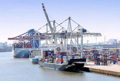 Containerschiff unter Containerbrücken im Hamburger Hafen, Container Terminal Tollerort.