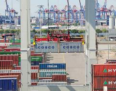 Zwei Container werden am Terminal Tollerort entladen - im Hintergrund die Containerkräne des Terminals Burchardkai.
