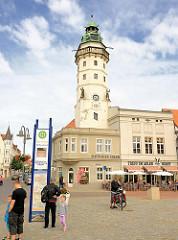 Achteckiger Renaissance-Turm des ehem. Neustädter Rathaus in der Hansestadt Salzwedel, erbaut im 16. Jhd.