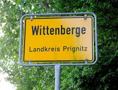 Ortsschild von Wittenberge, Landkreis Prignitz.