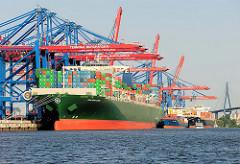Das 368 m lange Containerschiff / Container Vessel THALASSA ELPIDA unter den Containerbrücken vom Terminal Burchardkai. Das 2014 gebaute Frachtschiff kann 13808 TEU Container transportieren.