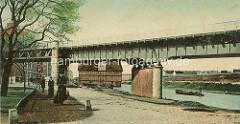 Bahnbrücke beim Billwerder Röhrendamm in Hamburg Rothenburgsort - Eisenbahnbrücke über den Billhorner Kanal oder Oberhafenkanal (?)