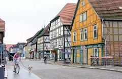 Historische Fachwerkhäuser, Wohnhäuser / Geschäfthäuser an der Marktstrasse in Grabow.