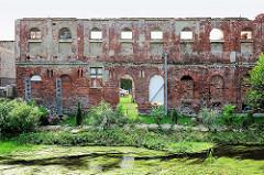 Ruine, Ziegelmauer mit Fensterhöhlen - ehem. Industriearchitektur in Pritzwalk.