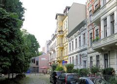 Etagenhäuser, Gründerzeitarchitektur - Wohnhäuser in Grabenstrasse der Stadt Brandenburg.