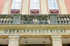 Wappen und Inschrift Oberlandesgericht - Brandenburg a. d. Havel.