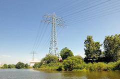 Hochspannungsmast, Hochspannungsleitungen am Tidekanal in Hamburg Billbrook; Sträucher und Bäume am Ufer des Kanals.