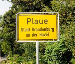 Ortsschild Plaue, Stadt Brandenburg an der Havel.