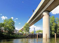 Eisenbahnbrücke über die Bille in Hamburg Rothenburgsort - Betonbrücke auf Betonsäulen - Restaurant am Ufer.