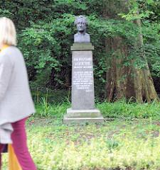 Goethedenkmal - Goethebüste, Bronze an der Havelstrasse der Stadt Brandenburg a. d. Havel.